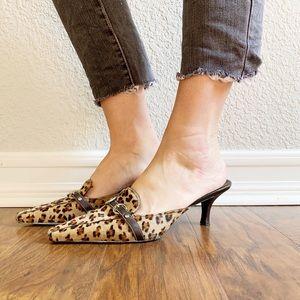 Cole Haan Pony Hair Leopard Print Kitten Heels